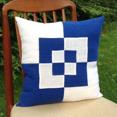 Royal blue and optic white linen pillow cover w/ alternating blue and white squares appliqued on front Linen Pillows, Throw Pillows, Pillow Ideas, Squares, Royal Blue, Applique, Pillow Covers, Blue And White, Crafty