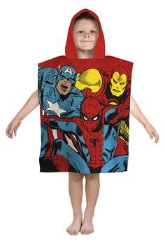 kids Marvel Spiderman Hooded Bath Beach Swim Poncho Microfibre size TU fits all