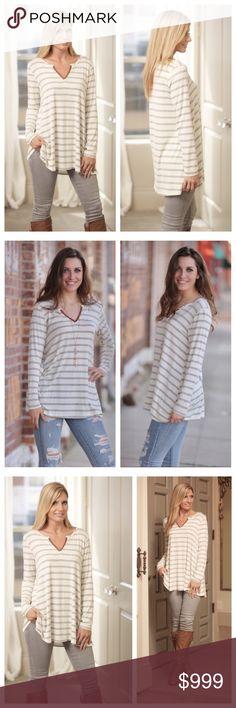 striped long sleeve Grey basic striped tunic. 95% Rayon 5% Spandex MADE IN USA❤️ Infinity Raine Tops Tees - Long Sleeve