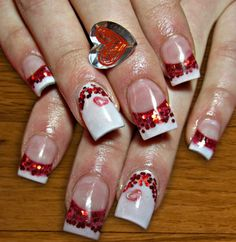 glitter french mani with pink hearts valentine's day or wedding nails. one app for everything nail art. Red Nails, Love Nails, Pretty Nails, Crazy Nail Designs, Valentine's Day Nail Designs, Uñas Fashion, Fasion, Valentine Nail Art, Valentines Design