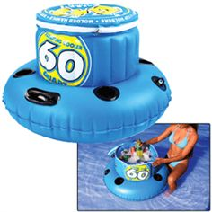 Take your party to the water with this 60 Quart cooler that will hold 48 cans of your favorite beverage.      This inflatable cooler includes 4 cup holders, zippered lid and grommet for easy tie off.      Relax with the beverage of your choice as you float along the peaceful water with our 60Q cooler trailing behind you.      Your refreshments will stay cold at the beach, lake or pool.  http://www.oceansinthesand.com/product_p/40-1010.htm