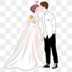 Hand painted western style wedding bride and groom kissing PNG and PSD Wedding Scene, Wedding Frames, Red Wedding, Wedding Groom, Wedding Couples, Korean Bride, Couple Clipart, Wedding Drawing, Wedding Invitation Vector