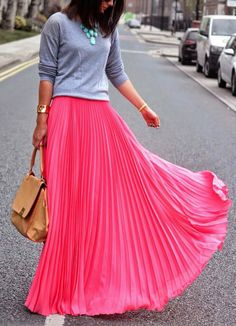 Love the skirt and casual jumper combo