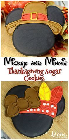 Mickey and Minnie Thanksgiving Sugar Cookies - Thanksgiving Inspirations - Disney Thanksgiving, Thanksgiving Cookies, Fall Cookies, Cute Cookies, Easter Cookies, Disney Christmas, Thanksgiving Recipes, Thanksgiving Holiday, Holiday Cookies