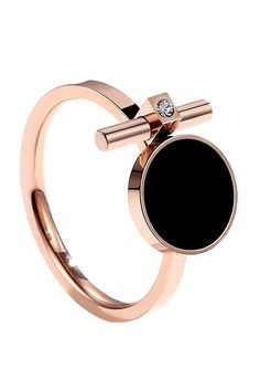 Gothic Jewelry Rings Caromay - Black Disc Ring in Rose Gold Sea Glass Jewelry, Body Jewelry, Jewelry Rings, Jewelry Accessories, Jewelry Design, Jewelry Box, Jewelry Making, Gothic Jewelry, Luxury Jewelry