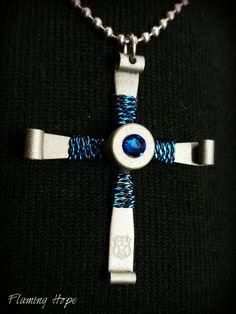 Blue Lives Matter .223/5.56 mm bullet casing cross necklace