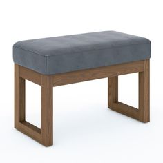 Simpli Home Milltown 26 in. Wide Contemporary Rectangle Footstool Ottoman Bench in Stone Grey Faux Leather - The Home Depot Small Upholstered Bench, Ottoman Bench, Grey Furniture, Living Furniture, Square Pouf, Thing 1, Grey Stone, Foot Rest, Upholstery