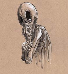 Alex Pardee's Land Of Confusion Creepy Faces, Creepy Drawings, Creepy Art, Art Drawings, Creepy Things, Girl Drawing Sketches, Drawing Poses, Alex Pardee, Dark Evil