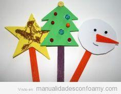 Manualidades niños foamy, muñeco de nieve, árbol y estrella