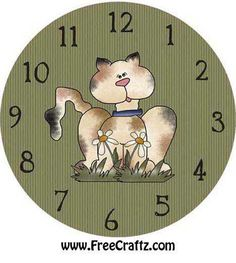 Clock Face with Cat
