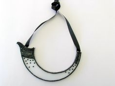 Zen Necklace-Black White Necklace-Statement Bib Necklace-High Fashion Necklace-Bead Embroidery Necklace