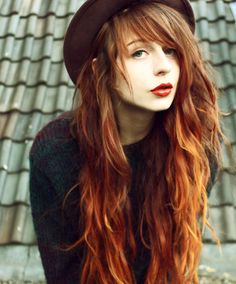 Grunge Styled Red Ombre Dyed Hair - http://ninjacosmico.com/18-must-have-grunge-accessories-clothing/