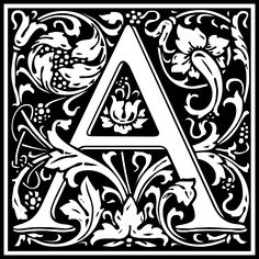 """William Morris Letter A by @kuba, William Morris Design of the Letter A converted from a font """"Goudy Initialen"""" by Dieter Steffmann, on @openclipart"""