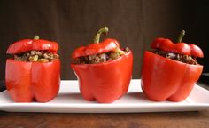 Gorgeous! Stuffed red peppers with ground beef and a ton of herbs and spices. Perfect for Phase 2 of the #FastMetabolismDiet Recipe is from the book.