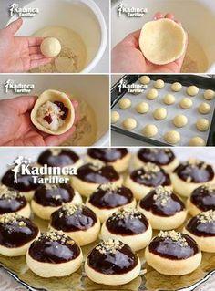 İçi Muhallebi Dolgulu Kurabiye Tarifi Steamed Buns, Candy Cookies, No Cook Meals, Turkish Sweets, Pudding Cake, Turkish Recipes, Shortbread, Moroccan Desserts, Cookie Recipes