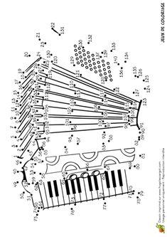 Jeu de coloriage, points à relier, un accordéon