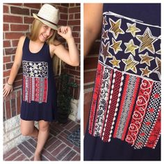 "🎉SALE 🎉Patriotic Stars & stripes tunic dress Adorable American Flag Multi Laced Print tunic dress. Color: navy                                       Small (2-4) and Large(10-12) T1550110.                            LENGTH: small-33"" Large-34"" From top of shoulder to bottom hem. BUST: small-17"" Large-18"". before stretch. From armpit to armpit. Boutique  Dresses"