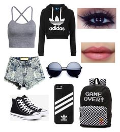 """Back-to-School Outfit #2"" by lilmissy1128 on Polyvore featuring beauty, Topshop, Converse, Vans and adidas"