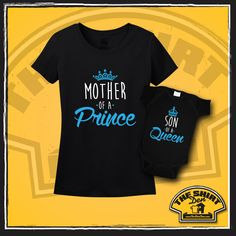 """Matching Mom and Son Set """"Mother of a Prince"""" & """"Son of a Queen"""" makes an awesome gift for any new mommy, or even a soon to be mom again of a prince! Give it for Mother's Day, Christmas, or just because."""