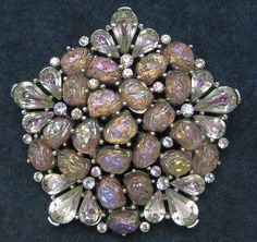 Crown Trifari Brooch Purple Blue Art Glass Lava Rhinestone Etoile 1959 Vintage   eBay