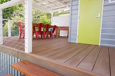 Composite decking adds flair to creative studio with sleek wood look and feel. #compositewood #deck #decking #compositedecking http://www.urbanline.com.au/products/millboard-decking/