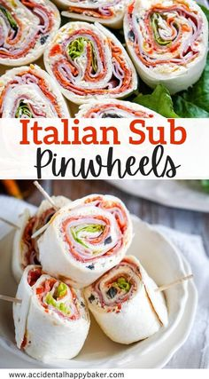 Italian Pinwheels have all the big bold flavors of a BMT sub sandwich in an easy to make, fun to eat roll-up! Perfect for game day snacks or kids lunches.