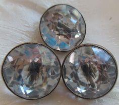Vintage 3 Czech Crystal Clear Buttons Rhinestone Navette Brass Bezel 19mm