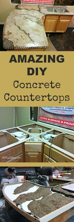 These DIY Concrete Countertop are Beyond Amazing! Work Perfect in Any Kitchen ! Easy to Do And Give Look of an Entire Kitchen Remodel ! The post These DIY Concrete Countertop are Beyond Amazing! Work Perfect in Any Kitchen ! appeared first on aubenkuche. Diy Concrete Countertops, Kitchen Countertops, Concrete Table, Concrete Forms, Granite Countertop, Concrete Furniture, Diy Furniture, Countertop Redo, Custom Countertops