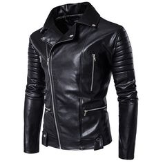 Black Motorcycle Mutil Zipper Fold Metal Plus Size Coat PU Jacket ($63) ❤ liked on Polyvore featuring men's fashion, men's clothing, men's outerwear, men's jackets, mens zip jacket, mens zipper jacket, mens motorcycle jacket and mens short sleeve jacket