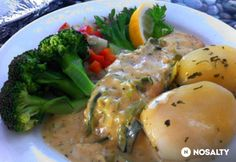 Lazac kapormártással Fish Recipes, Cooking Recipes, Lunch, Chicken, Meat, Dinner, Kitchen, Foods, Drinks