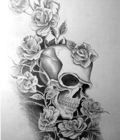 fan art - New Site Dark Mark Tattoos, Full Sleeve Tattoos, Sleeve Tattoos For Women, Leg Tattoos, Body Art Tattoos, Tattoos For Guys, Skull Tattoo Flowers, Skull Rose Tattoos, Tattoo Designs