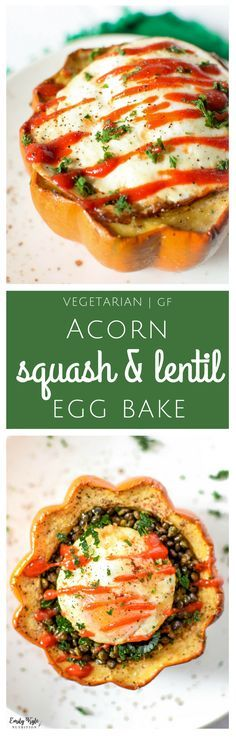 Enjoy this delicious Acorn Squash & Lentil Egg Bake - a nutrient packed, high protein, high fiber budget friendly recipe that costs just $1.71 per serving! via @EmKyleNutrition