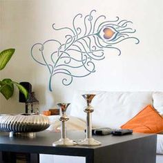 Grande Peacock Feathers Wall Stencil makes a dramatic graphic wall statement