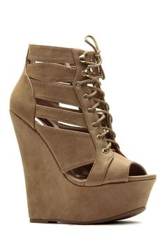 46ff02cbc2a Tan Street Style Lace Up Peep Toe Wedges   Cicihot Wedges Shoes Store Wedge  Shoes