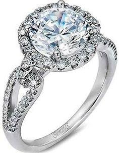 Simon G Split Shank Pave Diamond Engagement Ring