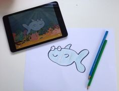 We love –LOVE – this marvellous app, which gets children to draw a fish on paper, then scan it in to swim around a virtual fish-tank on iPad.