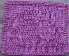 free knit dishcloth patterns | Snuggling Cats Knit Dishcloth Pattern