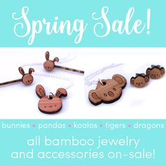 Spring is almost here and all my bamboo jewelry and accessories are on-sale in my etsy shop! Stock up on favorites for Easter, gifts and for yourself! #handmade #jewelry #accessories #bamboo #necklace #pendant #earrings #bunny #bunnies #koala #koalas #panda #pandas #dragon #dragons #tiger #tigers #shopsmall #etsy #eastergifts #gifts