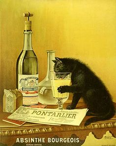 Absinthe Bourgeois black cat ad |  Mourgue brothers