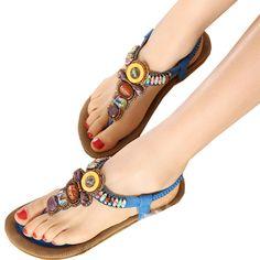 Boho Rhinestones Embellishment Y-Strap Thong Sandals For Women. Starting at $14