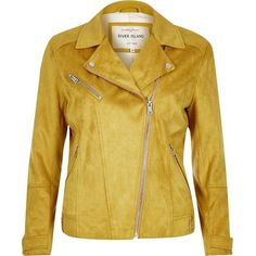 River Island Yellow faux suede biker jacket (£82) ❤ liked on Polyvore featuring outerwear, jackets, biker jackets, coats / jackets, women, yellow, tall biker jacket, faux suede jacket, beige jacket and rider jacket
