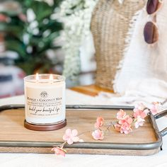 This soy candle smells like: Sugary mango and creamy coconut milk. This was also a best seller last season. White Candles, Soy Candles, Candle Jars, Watermelon Lemonade, Watermelon Slices, Clear Tumblers, Best Smelling Candles, Relaxing Bathroom, Fragrance Oil