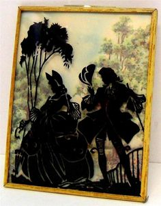 Vintage Reverse Glass Paintiing Silhouette Picture Convex Curved Picture #23 Silhouette Pictures, Vintage Silhouette, Worlds Largest, Ephemera, Westerns, Antiques, Silhouettes, Glass, Painting