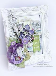 Scraps of Elegance kit club - created by Nadia Cannizzo with the April Possibility kit Altered Canvas, Altered Art, Purple Cards, Shabby Chic Frames, Assemblage Art, Butterfly Cards, Home And Deco, Diy Frame, Valentine Day Cards