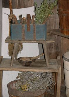 Sweet Liberty Homestead stick cutlery and blue painted silverware box. We LOVE primitives and hope you'll visit us at our new place http://www.picturetrail.com/sweetliberty