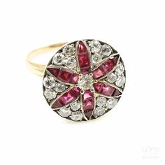Art Deco Yellow Gold Diamond and Ruby Floral-Motif Ring Deco Engagement Ring, Classic Collection, Floral Motif, Fine Jewelry, Fashion Jewelry, Art Deco, Yellow, Diamond, Antiques