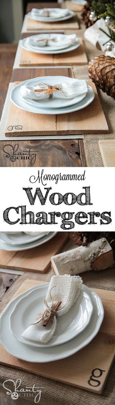 DIY Wood Chargers with Initials. So cheap and easy! These would make great gifts! Or you can use old barn wood! Diy Wood Projects, Wood Crafts, Woodworking Projects, Diy And Crafts, Wood Chargers, Wood Initials, Pot A Crayon, Do It Yourself Furniture, Shanty 2 Chic