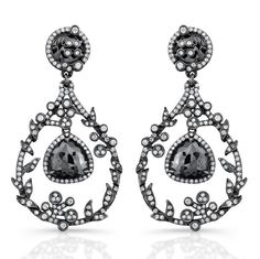<h1>Black Diamond Earrings, Diamond Chandelier Earrings</h1><br /> <p>Two dangling rose cut <strong>black diamonds</strong> framed with 308 sparkling white diamonds weighing 1.35cts and two pear shape black diamond centers 3.25cts set in delicate chandelier antique design. These <strong>black diamond earrings</strong> are a fabulous addition to your jewelry collection. <strong>Coby Madison</strong> offers this gorgeous <strong>black diamond earring</strong> from our <strong>online jewelry…