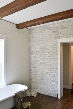 How to white wash a brick wall - this might work for Jane's fireplace