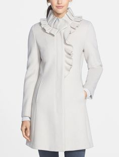 Loving the pleats on this ruffle collar wool coat.